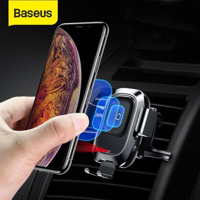 Baseus 10 ワットチー車のワイヤレス充電器サムスンS10 iphone xインテリジェント赤外線センサー高速ワイヤレス充電自動車電話ホルダー