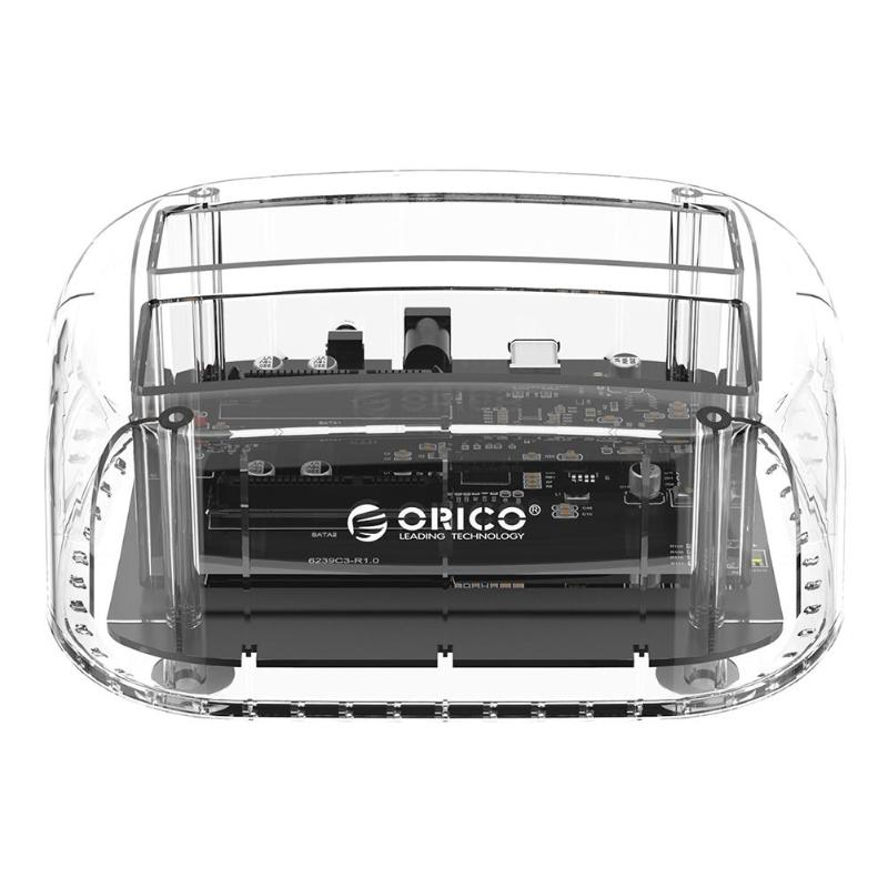 ORICO 6239C3-C 6239C3 2.5/3.5 inch HDD SSD Enclosure Offline Copy SATA to USB 3.0 Type-C Transparent Double Disk Docking Station
