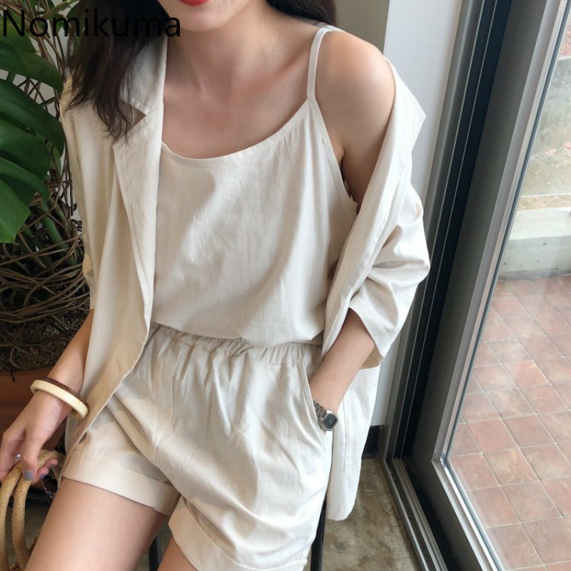 Nomikuma Casual Fashion Women Set Solid Color Half Sleeve Blazer Basic Camisole High Waist Shorts Summer New Outfits Lady 3a872