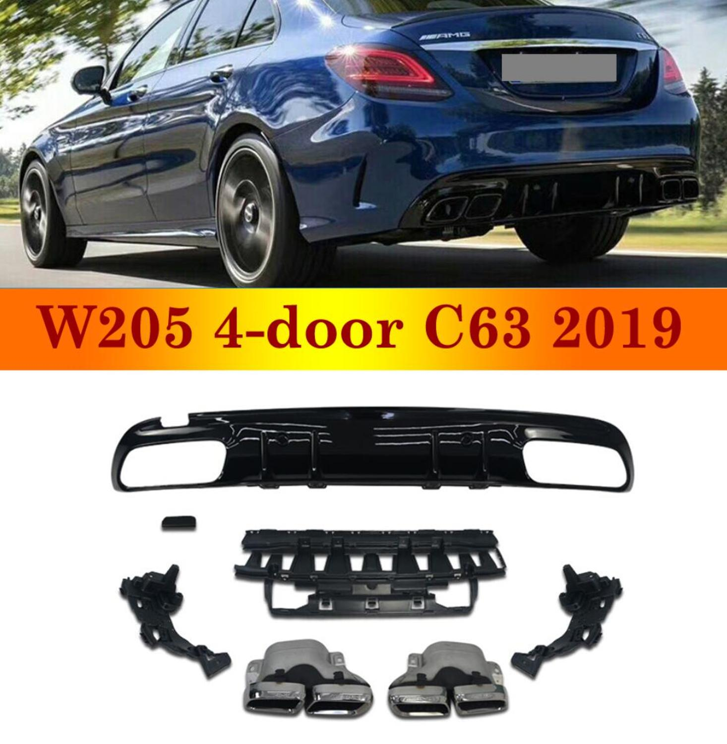 Fits for 2017-2019 Mercedes Benz C-Class W205 2 Door Coupe C200 C250 C300 AMG C43 C63 Edition 1 Style Rear Bumper Diffuser Black Chrome Exhaust Tips
