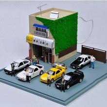 1:64 Scale Initial D Fujiwara Tofu Shop AE86 Movie Version Resin Scene Model Miniature Scene Layout Children Toys
