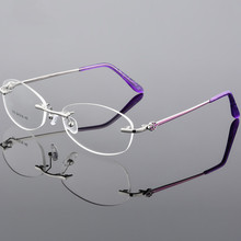 Ultra Light Metal Oval Rimless Glasses Myopia Prescription Eyewear Spectacle Frame Optical Clear Eyeglasses Frame suojialun women flat shoes pointed toe slip on woman oxfords flat shoes pu leather loafers female casual shoes women flats
