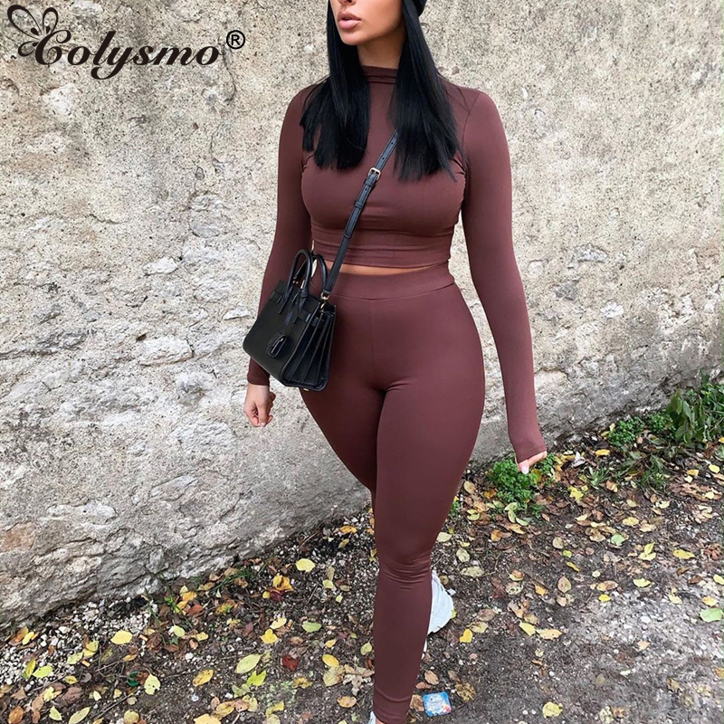 Colysmo Elastic Fitness 2 Pieces Set Women Solid Long Sleeve Turtleneck Crop Top Leggings Two Piece Set Tracksuit Matching Sets