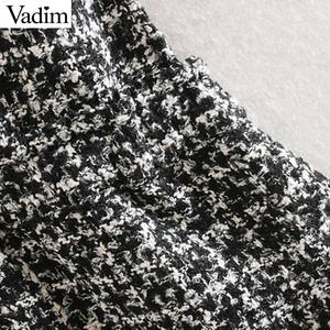 Image 5 - تنورة نسائية أنيقة من Vadim مع جيوب للتعليق على شكل تويد وتزيين بأزرار وتزيين ملابس أنثوية وتنورة قصيرة أنيقة غير رسمية BA861