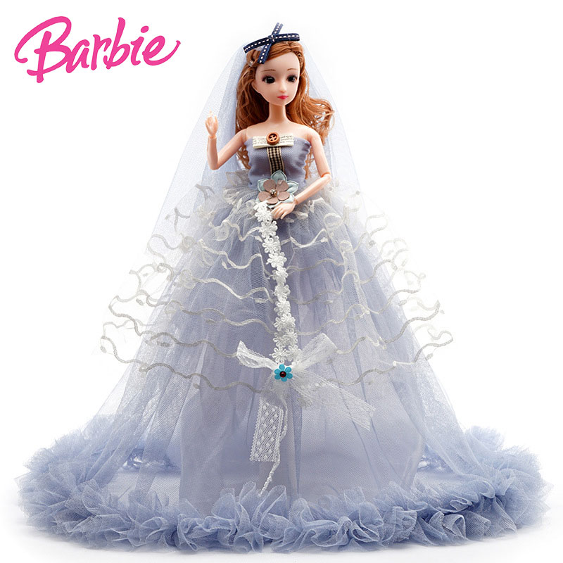 Mattel Kawaii  Barbie Girls Toys  Wedding Doll  Girl Toy Silicone Baby Doll For Girls Girl Games Play Baby Girl Toys 40cm Gift