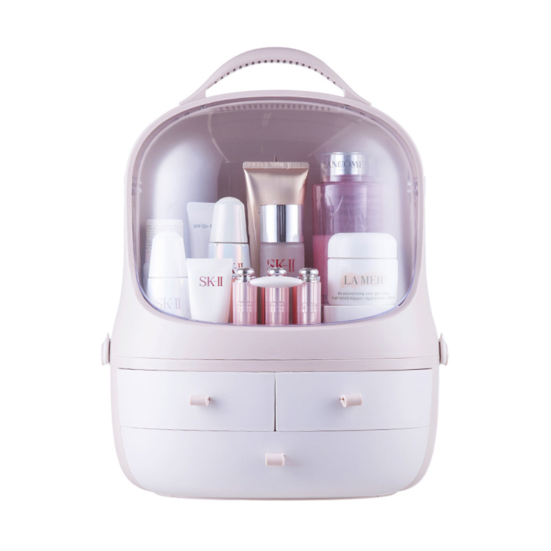 Acrylic Clamshell 3 Drawer Dressing Cosmetic Case Table Rounded Makeup Holder Storage Box For Lipstick Jewelry Organizer|Makeup Organizers| |  - title=