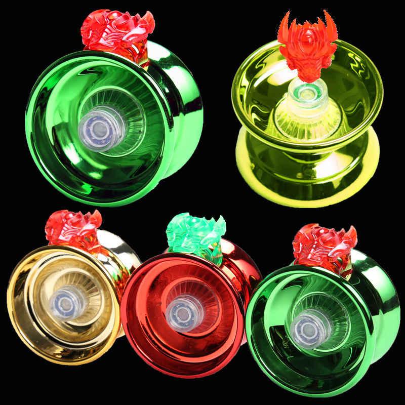 Yoyo mágico de 4 colores, de alta velocidad, de aleación de aluminio, torno de bola yo-yo con cuerda giratoria para niños, niñas y niños