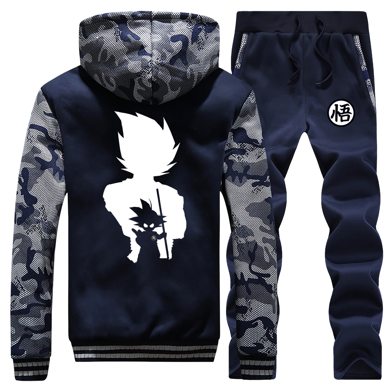 Warm Mens Dragon Ball Set Winter Casual Tracksuit Men Hoodies Sets Brand Men's 2Pcs Thick Outerwear+Pants Suit Male 2019 New