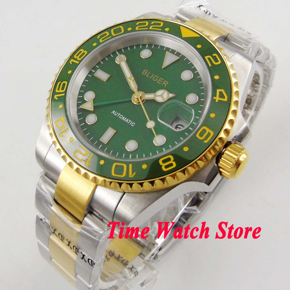 40mm Bliger men's watch green dial luminous sapphire glass ceramic bezel date window GMT Automatic movement 286