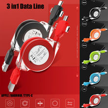 2019 Newest Fashion 3 in1 Multi USB Charger Cable Cord For iPhone ISO TYPE-C Android Retractable