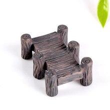Vintage Silla de puente de madera figurillas miniaturas Hada jardín Gnome Moss regalo resina artesanía decoración del hogar DIY accesorio 812