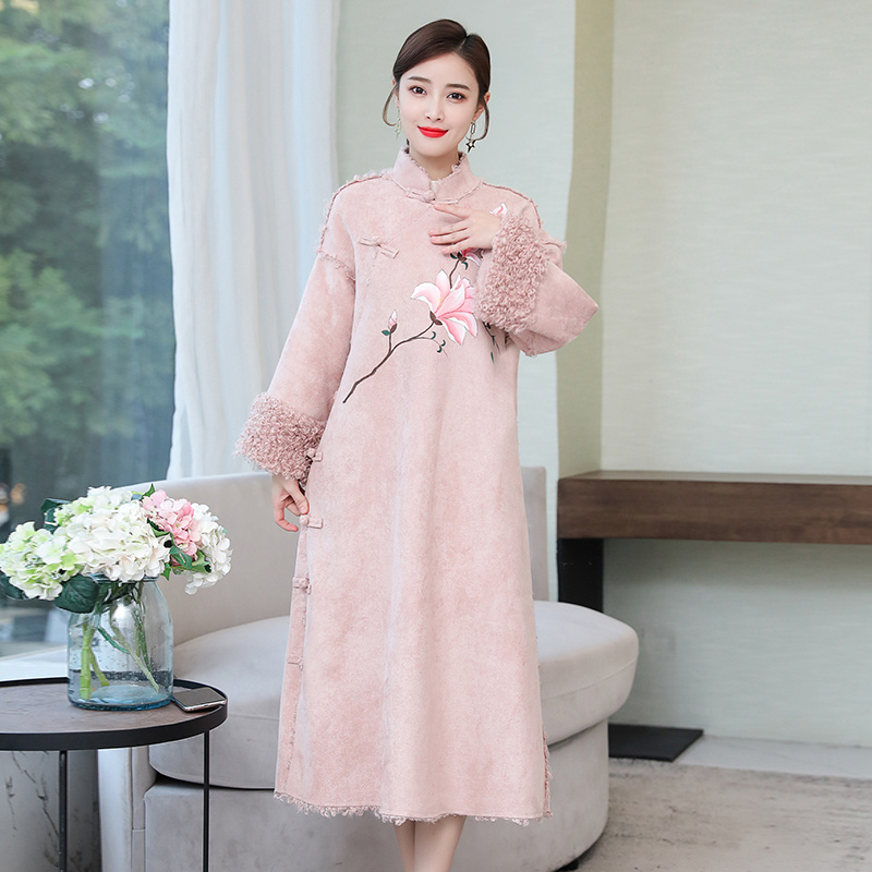 Tang Suit Women's Winter Clothing Cotton-padded Dresses Chinese Style Winter Thickening Warmth Improved Cheongsam Robe Hanfu