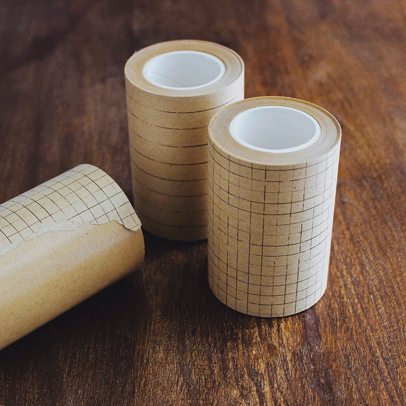 70mm X 5m Vintage Kraft Paper Line/Grid/Square Basic Series Decoration Tape DIY Diary Scrapbooking Lifelog Album Masking Tape