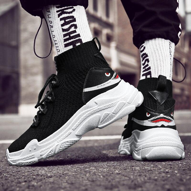 Sock Sneakers Men & Women Casual Shoes White Sharks Trainers Couple High Top Breathable Walking Footwear Basket Homme Tenis