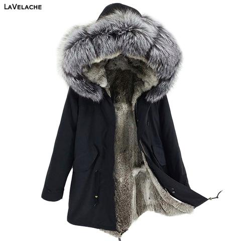 LaVelache Men Parka Winter Jacket Real Rabbit Fur Coat Long Waterproof Big Plus Size Natural fox Fur Collar Streetwear Pakistan