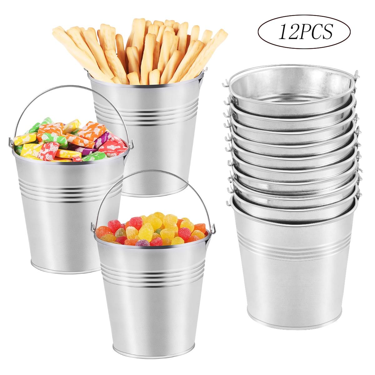 Mini cubos de hojalata seguros para patatas fritas, cubos de aperitivos, cubos de Metal, cubos de hojalata para patatas fritas, plantado de flores, caramelos de glaseado, 12 Uds.