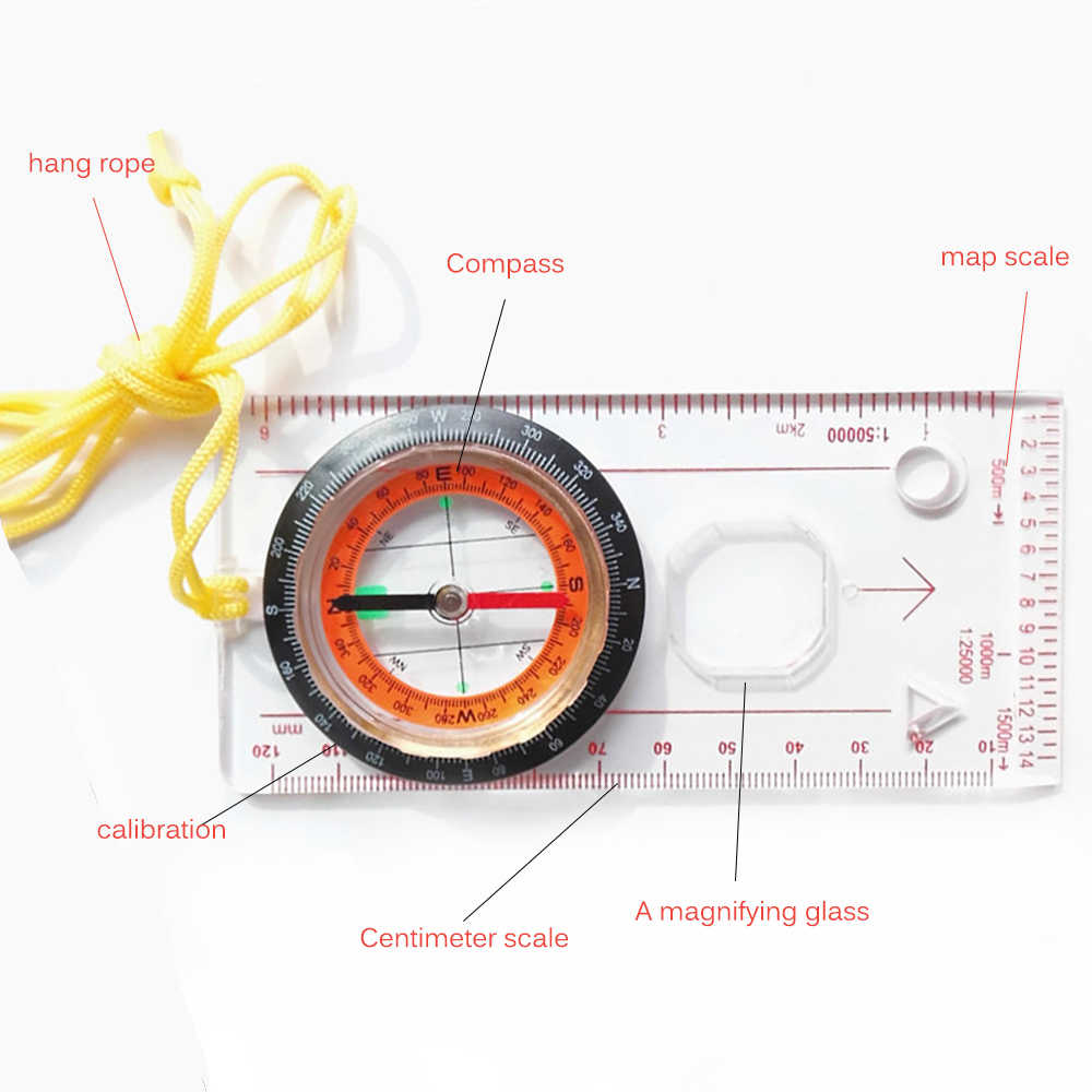 Ruler Compass Pocket Map Scale Magnifier Hiking Multifunction Portable