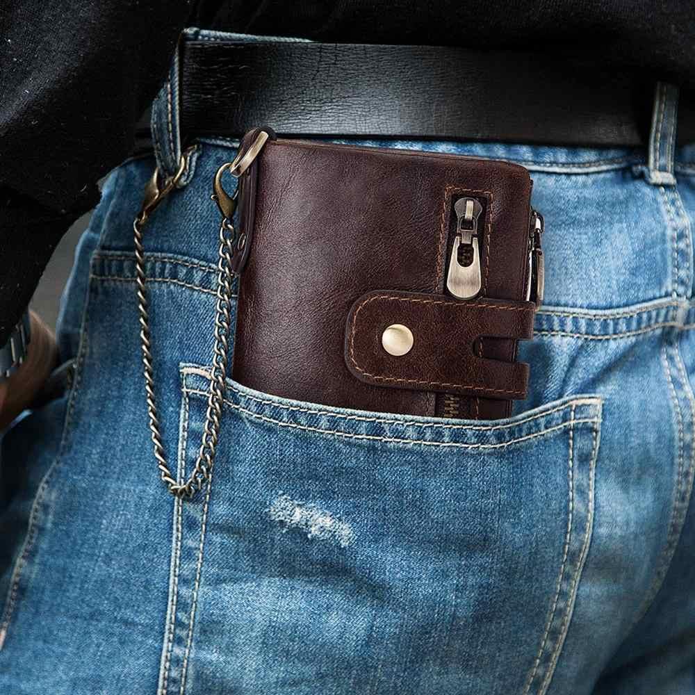 GZCZ تتفاعل جلد أصلي للرجال محفظة محفظة نسائية للعملات المعدنية الصغيرة حامل بطاقة صغيرة سلسلة محفظة Portomonee الذكور دقيقة Walet النقش الحرة