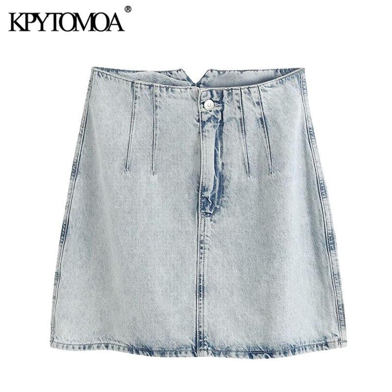 KPYTOMOA Women 2020 Chic Fashion Faded-effect Denim Mini Skirt Vintage High Waist Zipper Fly Female Skirts Faldas Mujer