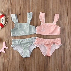 Baby Girl Shell Printed Ruffled Bikini Sets Swimsuit Swimwear Infant Toddler Kids Summer Beach Two Pieces Bathing Suit