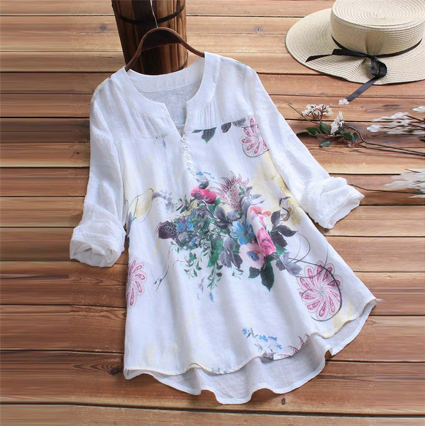 Buy Women's Shirts With Long Sleeves Vintage V-Neck Floral Printing Patch T Shirt Women Fashion Love T-Shirt  Korean Clothes for only 6.81 USD