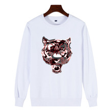 Logo tiger head + camouflage Print 2019 New Men 100% Cotton Sweatshirt Red Streetwear fashion Mens Pullover
