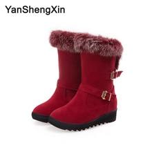 YANSHENGXIN Shoes Woman Boots Rabbit Fur Snow Warm High Quality Women Winter Metal Buckle Ladies Booties