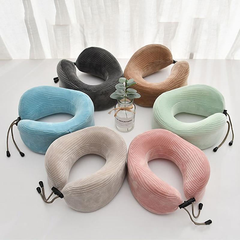 Memory Foam U-shaped Neck Pillow Soft Slow Rebound Travel Neck Pillows Neck Cushion Unisex Siesta Neck Pillow Travel Accessories