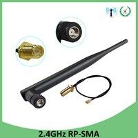 אנטנה 5dbi rp sma 2.4GHz 2.4G wifi אנטנה wifi 5dBi WiFi אוויר RP-SMA זכר נתב + 21cm PCI U.FL IPX ל RP SMA זכר צמה בכבלים (2)