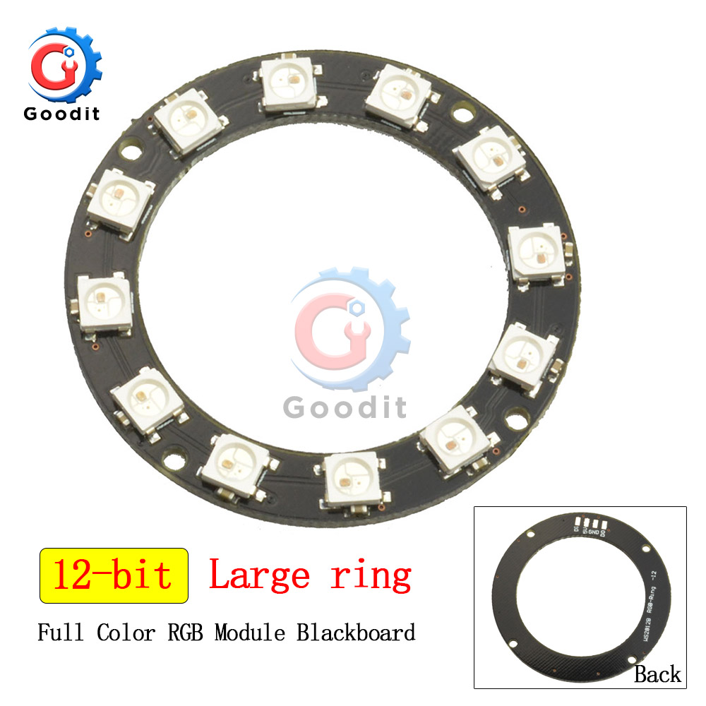WS2812B 16 Bits RGB LED Ring WS2812 5050 RGB LED Lights With Integrated Driver Module For Arduino 16bit LED Lamp Panel Module