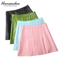 Sexy Women Mini Night Club Party Ladies Lace Up Sheepskin Real Leather Skirts High Waist Fashion A Line Shorts Skirt