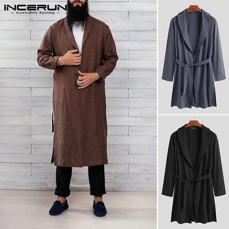 INCERUN Cotton Men Robes Solid Color Long Sleeve Homewear Fitness Casual Long Bathrobes Vintage Lapel Men Kimono Pajamas S-3XL