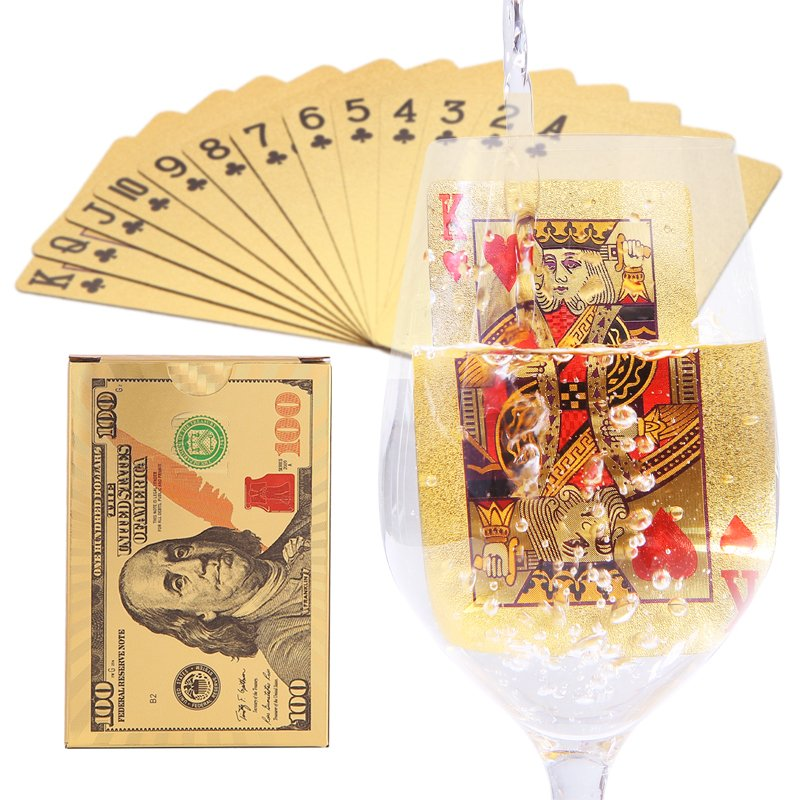 Gold Playing Cards Poker Game Deck Gold Foil Poker Set Plastic Magic Card Waterproof Cards box Plastic Playing Card image