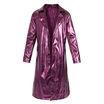 High Quality Men Suicide Squad Joker Cosplay Costumes Trench Coat Purple Jacket Clown Long Leather Coat For Halloween Party tanie i dobre opinie Kombinezony i pajacyki Anime Unisex Dla dorosłych Zestawy 173074 Poliester Kostiumy Fancy Dress
