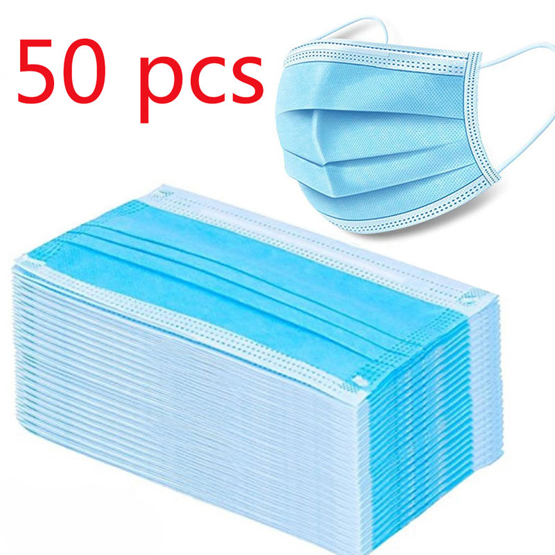 100pcs Protection Unisex masque Disposable Non-Woven Masks Three-layer Filter Anti-dust germ Mouth Nose face Mask 1