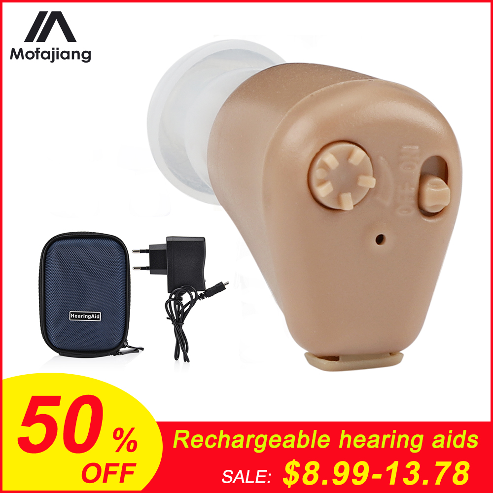 Hearing Aid Rechargeable Or Battery Mini Invisible Sound Amplifier Volume Adjustable Wireless Hearing Aids Device Ear Care Tool