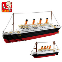цена на SLUBAN 1021Pcs Titanic Ship Building Blocks Sets Toys Boat Model Kids Gifts Boys Birthday Gift educational toys legoe Compatible