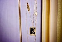 18k sólido amarelo real ouro jóias (au750) feminino ins estilo esmalte estrela e lua mito duplo sorte romance colar pingente senhora