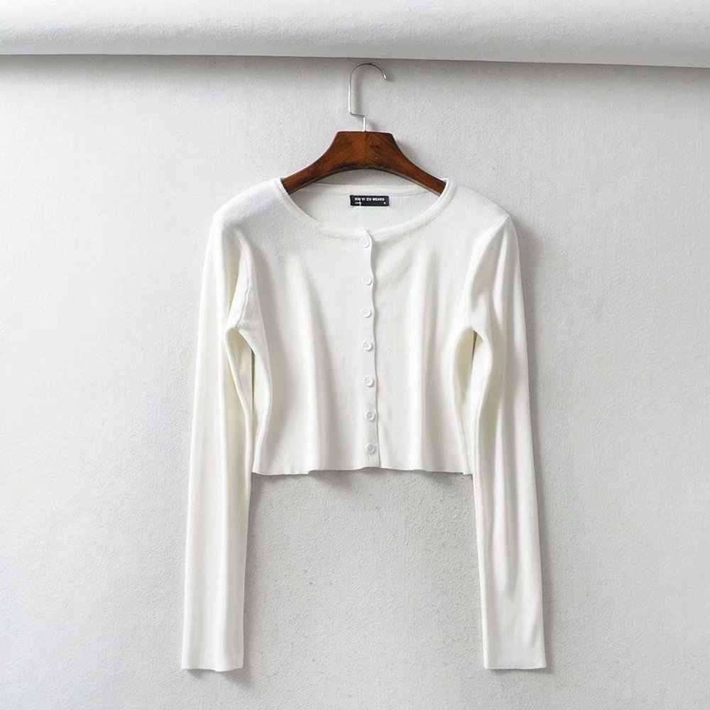 Đầm Dài Tay Crop Cardigan Nữ Trắng Đen Cardigan Hàn Quốc Nút Áo Len Dệt Kim Dạo Phố Mùa Đông Quần Áo Nữ