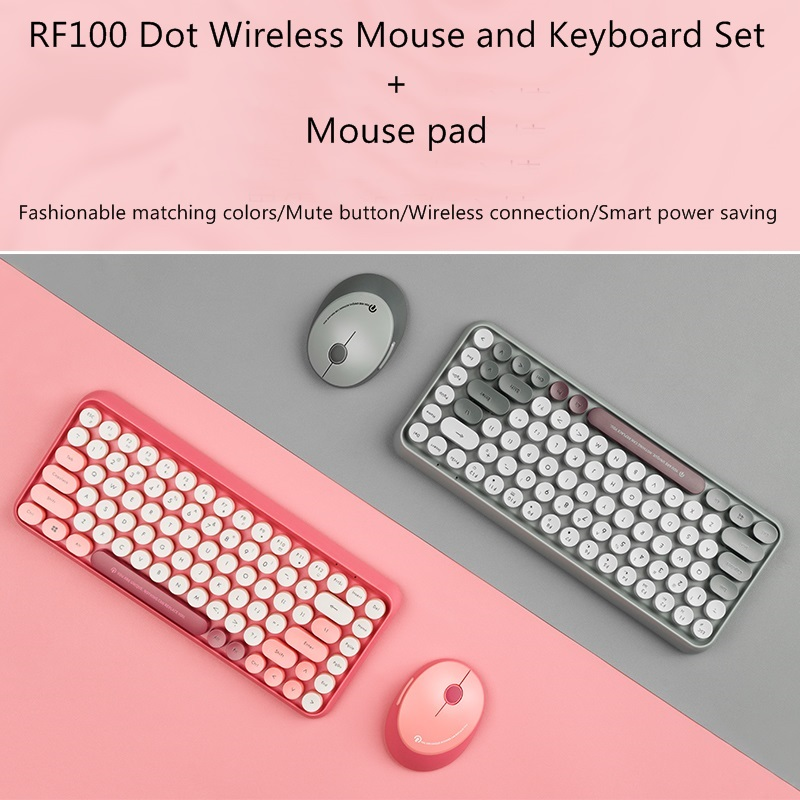 Wireless Keyboard and Mouse Set Office Mute Keyboard and Mouse Set Portable Antique Dot Keyboard Mouse Mouse Pad Set Gray