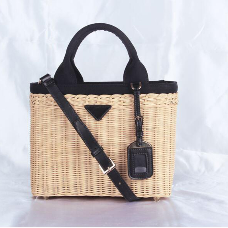 Luxury handbags women genuine leather bags designer rattan weave Straw handbag for women 2019 Original luxurious fashion brand in Top Handle Bags from Luggage Bags