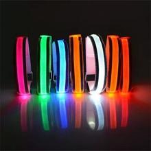 7 цветов, светоотражающий светодиодный светильник, нарукавная повязка на руку, ремень безопасности для ночного бега, 1 шт., светодиодный нейлоновый светоотражающий нарукавник