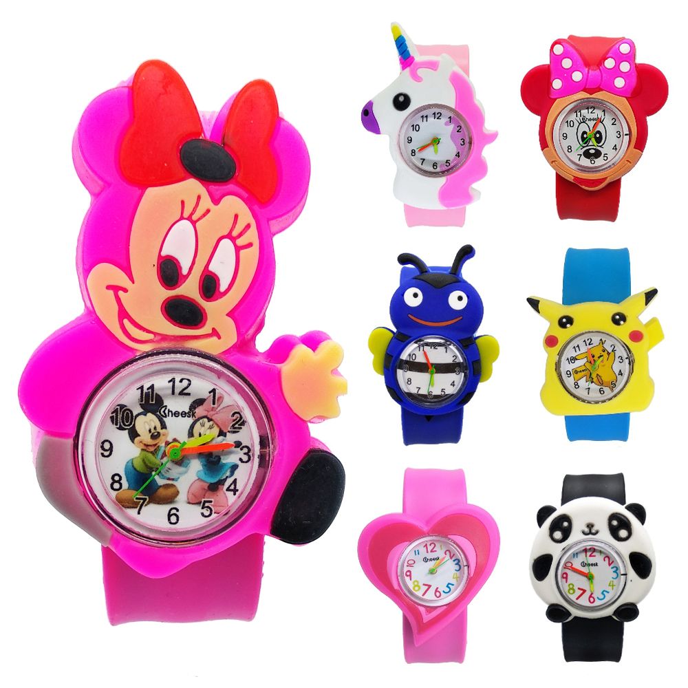 Hot Selling 3D Pet Children Watch For Girls Boys Cartoon Animal Tape Patted Table Kids Watches Students Child Gift Baby Clock