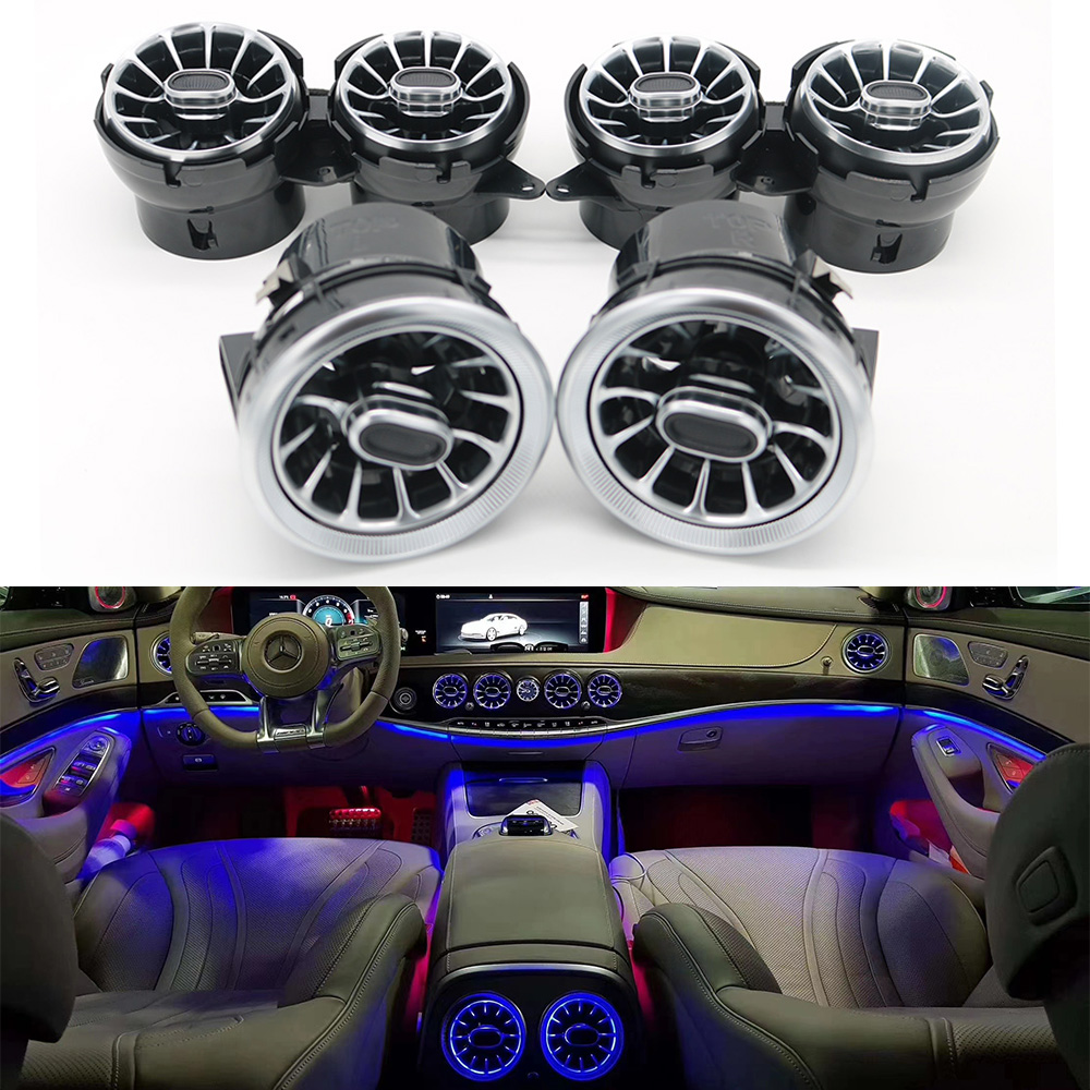 2021 New Turbo Shape air Conditioning Vent Modificatio 7/64 Color Vent LED Ambient Light For Mercedes-Benz S-Class W222