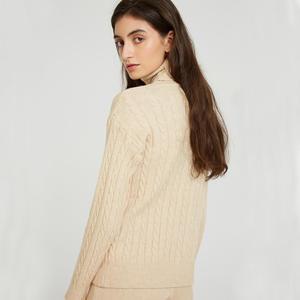 Image 4 - Wixra Conjuntos de Jersey de punto para mujer, suéteres de manga larga con cuello de tortuga, Tops y pantalones largos con bolsillos, trajes sólidos de 2 piezas, disfraz de invierno