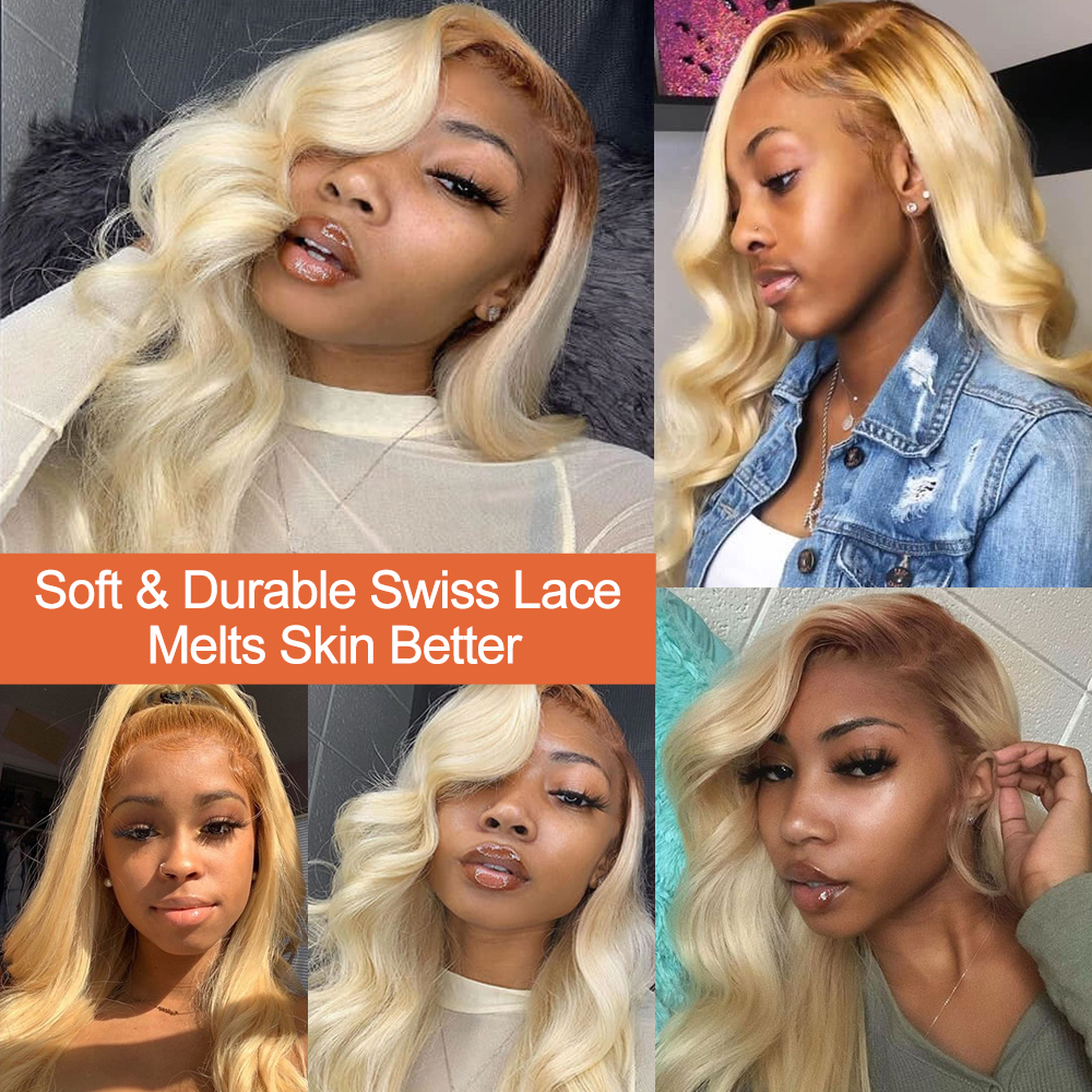 Nadula  Wigs 150% Density Ombre Blonde Pre-Plucked Lace Front Wig 13x4/13x6 /360 Lace Frontal Wig T4/613 Color 2