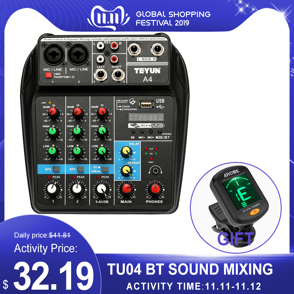 TU04 BT Sound Mixing Console Record 48V Phantom Power Monitor AUX Paths Plus Effects 4 Channels Audio Mixer With USB Mixing
