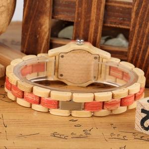 Image 4 - Vogue Octagonal Shape Wooden Watch Womens Crystal Diamond Dial Quartz Wristwatch Bamboo Wood Bracelet Hour Clock for Lady Girls
