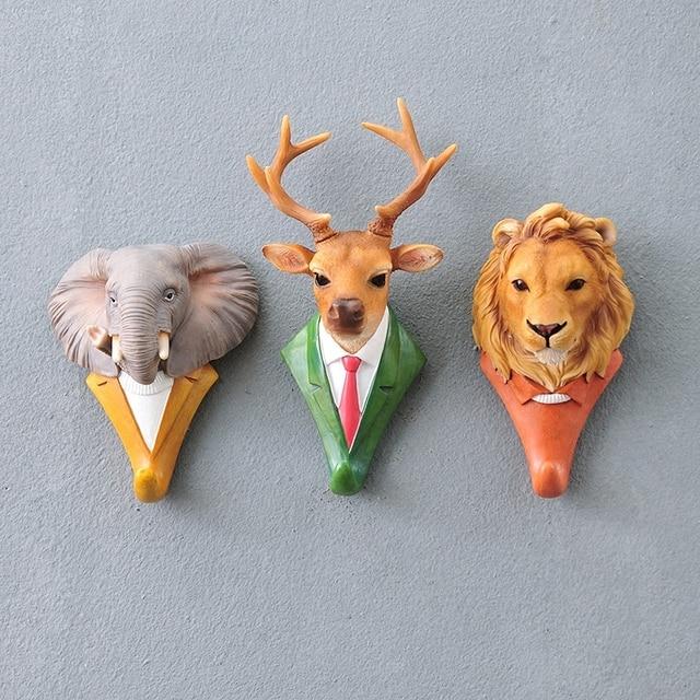 New Fashion Animal Decorative Hooks Deer Lion Eagle Gorilla Rhino Elephant Horse Creative Decoration Wall Hooks for hanging