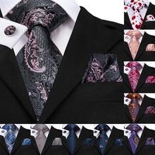 Hi-Tie 50 Styles Silk Mens Ties Hanky Cufflinks Set For Men Paisley Plaid Striped Red Green Luxury Wedding Party Necktie